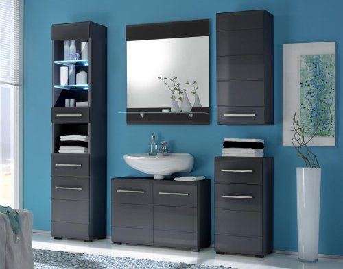 sonderposten m belland bad hochschrank chrome grau mdf grau metallic hochglanz nachbildung. Black Bedroom Furniture Sets. Home Design Ideas