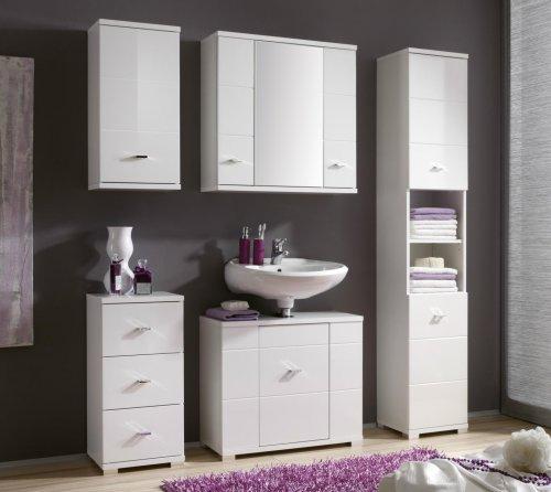 bad h ngeschrank morning wei mdf wei glanz nachbildung. Black Bedroom Furniture Sets. Home Design Ideas