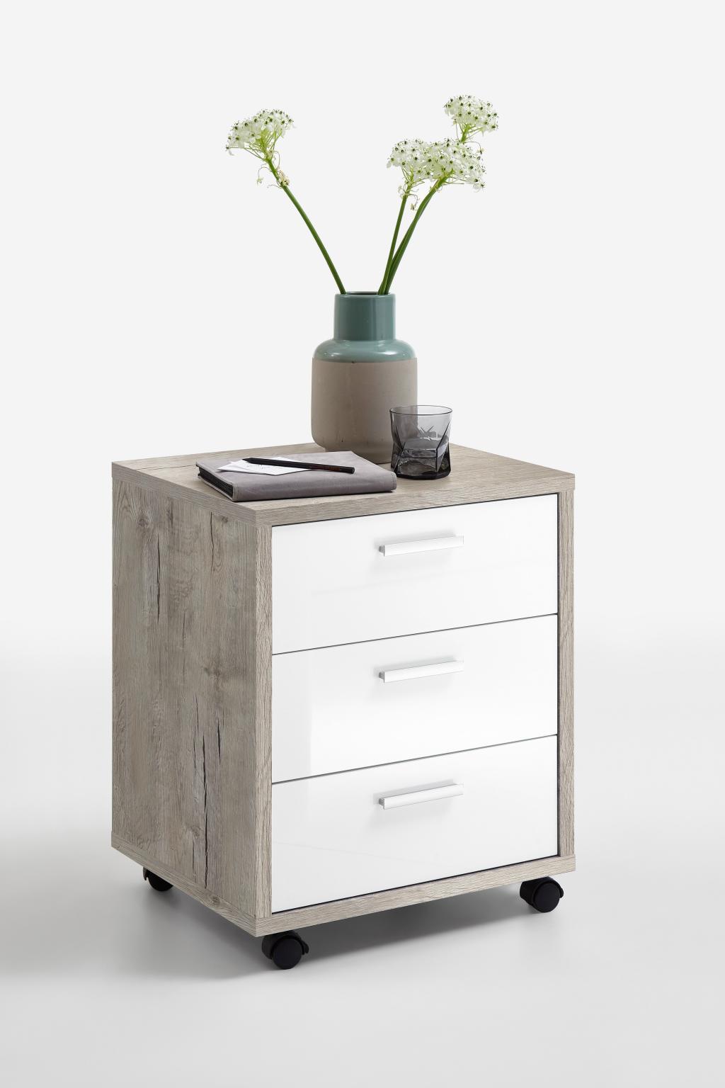 rollcontainer brick 2 sandeiche nachbildung hochglanz weiss. Black Bedroom Furniture Sets. Home Design Ideas