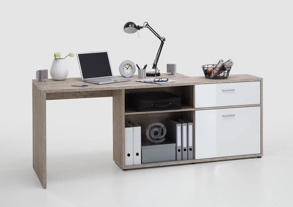 winkelschreibtisch diego sandeiche nachbildung hochglanz weiss. Black Bedroom Furniture Sets. Home Design Ideas