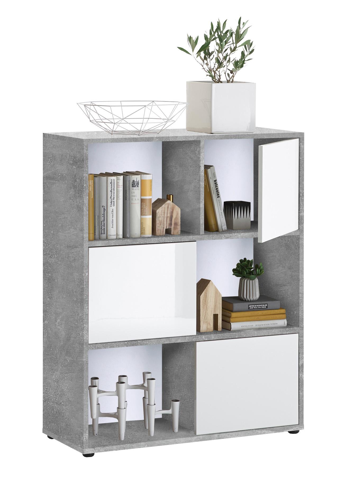 regal futura 1 up, beton light atelier nachbildung/hochglanz weiss