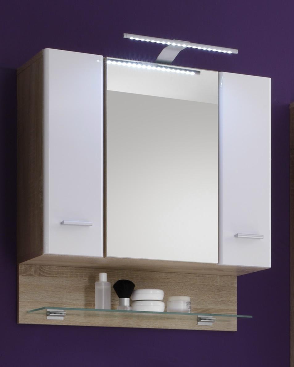 spiegelschrank barolo sonoma mdf wei hochglanz nachbildung. Black Bedroom Furniture Sets. Home Design Ideas