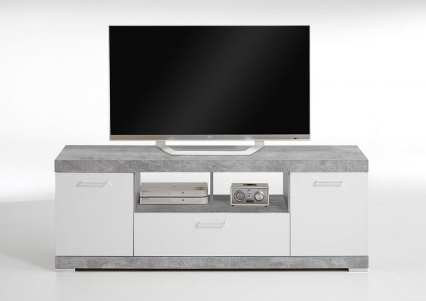 hifi tv board bristol 6 beton wei edelglanz nachbildung. Black Bedroom Furniture Sets. Home Design Ideas